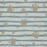 Cute Pattern with colorful dog paws on beige background with tiny dots. Hand Drawn Design. Great for wall art design, gift paper, Royalty Free Stock Photography