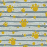 Cute Pattern with colorful dog paws on beige background with tiny dots. Hand Drawn Design. Great for wall art design, gift paper, Stock Photography
