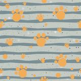 Cute Pattern with colorful dog paws on beige background with tiny dots. Hand Drawn Design. Great for wall art design, gift paper, Royalty Free Stock Images