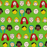 Cute pattern with different cartoon character Stock Images