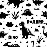 Cute pattern with dinosaurs on white backgrond. Cute pattern with dinosaurs on white backgrond stock illustration