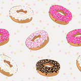 Cute pattern with donuts. Vector seamless pattern with chocolate and glazed donuts Stock Photo