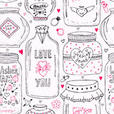 Cute pattern with doodle sweet mason jars. Valentines seamless background. Vector wishes jar with lettering. Love day hipster prin Royalty Free Stock Photo