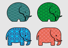 Cute pattern elephant. Cute elephant with 4 different pattern Royalty Free Stock Photos