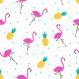 Cute pattern with flamingos and pineapples. Vector seamless pattern with pink flamingos and pineapples, bright summer pattern Royalty Free Stock Image