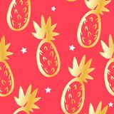 Cute pattern with golden pineapples and stars on red background. Ornament for textile and wrapping. Vector.  royalty free illustration