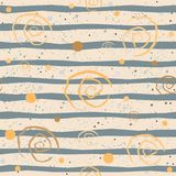 Cute Pattern with Golden spirals with pastel blue stripes on beige Stock Photos