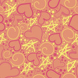 Cute pattern of hearts and asterisks Royalty Free Stock Image
