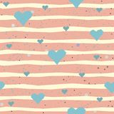 Cute Pattern with hearts. And dotted background with scattered dots. Vector Illustration Royalty Free Stock Image