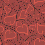 Cute pattern of hearts and twigs Stock Photography