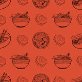 Cute pattern with japanese food Royalty Free Stock Image