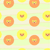 Cute pattern with lions. Hand drawn pattern with cute lions royalty free illustration