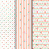 Cute Pattern Lollipop and Bow in old rose. Cute lollipop and bow seamless pattern in old rose, lollipop vector and back ground peach color Royalty Free Illustration