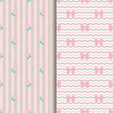 Cute Pattern Lollipop and Bow in pink. Cute lollipop and bow seamless pattern in pink, lollipop and background Stock Illustration