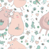 Cute pattern with lovers pigs. Cute endless pattern with lovers pigs. Couple of pigs. Romantic seamless pattern. Trendy colorful illustration with pigs, birds Stock Photography