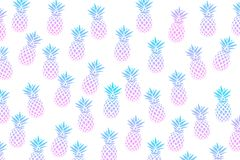 Cute pattern with pineapples on a white background. Vector illustration. Abstract Exotic summer print. Colorful gradient fruit pat. Tern. Tropical elements royalty free illustration