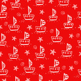 Cute pattern with sailing boat. Royalty Free Stock Photography