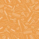 Cute pattern of scissors for manicure and pedicure, combs, nail. File, barrettes. Design for banner, flyer, poster or print royalty free illustration