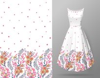 Cute pattern in small flowers and herbs. Seamless vertical background. An example of the pattern of the dress mock up. Vector illustration. Delicate colors vector illustration