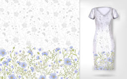 Cute pattern in small simple flowers. Seamless background and seamless border on different file layers. An example of Stock Image