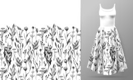 Cute pattern in small simple flowers. Seamless background and seamless border. An example of the pattern of the dress vector illustration