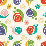 Cute pattern with snails and flowers Stock Photo