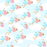 Cute pattern with storks flying in the clouds and kids. vector illustration