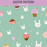 Cute pattern with sweets, cupcakes, bunnys, hearts Stock Images