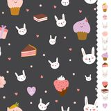 Cute pattern with sweets, cupcakes, bunnys, hearts Royalty Free Stock Photo