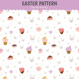 Cute pattern with sweets, cupcakes, bunnys, hearts Royalty Free Stock Images