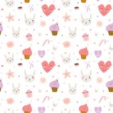 Cute pattern with sweets, cupcakes, bunnys, hearts Stock Photography