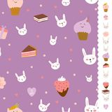Cute pattern with sweets, cupcakes, bunnys, hearts Royalty Free Stock Image