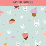 Cute pattern with sweets, cupcakes, bunnys, hearts Royalty Free Stock Photography