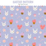 Cute pattern with sweets, cupcakes, bunnys, hearts Stock Image