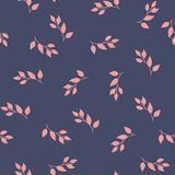 Cute pattern trendy minimalistic floral theme for design. pink branch and leaves stock illustration