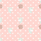 Cute pattern Unicorn and Old Rose. Cute unicorn diamond seamless pattern and old rose in polka dot background Vector Illustration