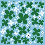 Cute pattern of white flowers and clover on a blue background. Cute pattern of white flowers and clover Royalty Free Stock Photos