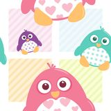 Cute Patterned Penguins Seamless Tile. A seamless tile of fat, cartoon, vector penguins. These cute little guys can be used for a variety of projects Royalty Free Stock Photography