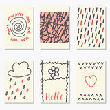 Cute patterns for placards, posters, flyers and banners. Hand dr Royalty Free Stock Image