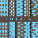 Cute patterns. Set of different blue and brown vector seamless patterns natural concept. Endless texture can be used for wallpaper, pattern fills, web page Stock Image