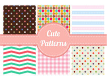 Cute patterns, stripe, chevron and dot seamless patterns Stock Photo