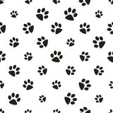 Cute paw seamless pattern, cat feet steps, pet design. Texture for wallpapers, fabric, wrap, web page backgrounds, vector. Illustration design stock illustration