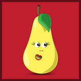 Cute pear on the red background Royalty Free Stock Images