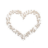 Cute pearl heart isolated on white background. Pearl abstract 3d heart shape isolated on white background, romantic symbol of love, wedding and romance Royalty Free Stock Images