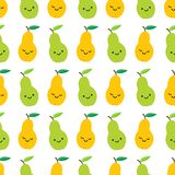 Cute pears seamless pattern in cartoon style vector illustration