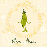 Cute peas character illustration Royalty Free Stock Photos