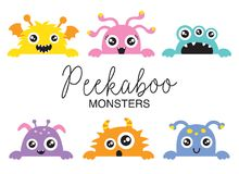 Cute Peekaboo Monsters Vector Illustration. Set of cute peekaboo monsters vector illustration. Funny little monsters in various colors Royalty Free Stock Image
