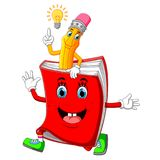 Cute pencil cartoon with book. Illustration of Cute pencil cartoon with book stock illustration