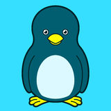 Cute penguin. With yellow beak on blue background stock illustration