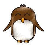 Cute penguin asleep kawaii character. Vector illustration design Royalty Free Stock Images
